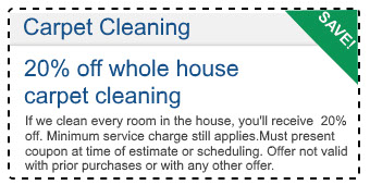 20 percent off whole house carpet cleaning