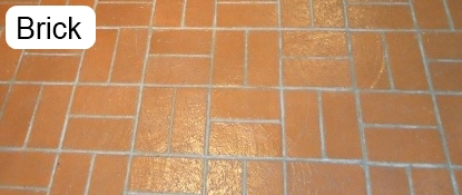 Sample of a brick floor that has been cleaned.