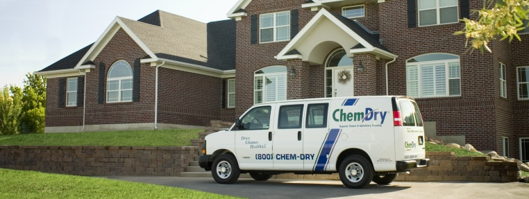 chem-dry van getting ready to clean carpets in a home