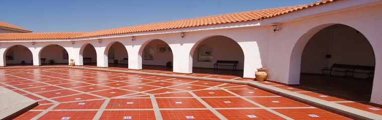 beautiful red tile patio shining in the light