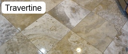 Sample of a travertine floor that has been cleaned.